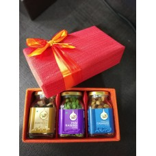 3 Square Glass Bottles Gift Box